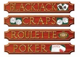 Poker Casino Las Vegas Themed Cutout Signs Party Decorations Pack of Four