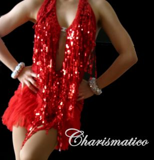 Red Cleavage Latin Salsa Dance Fringe Samba Diva Dress