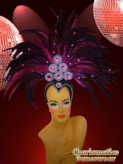 Fuchsia Drag Queen Transvestite Feather Samba Rio Carnival Collar Headdress