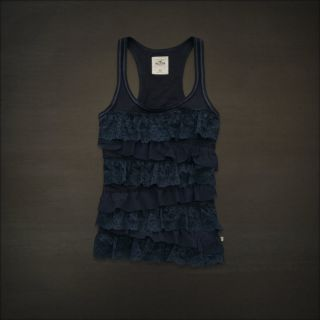 Hollister by Abercrombie Women Navy Lace Tank Top M