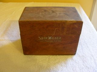 Antique Vintage Wood Oak File Box Shaw Walker Chicago Muskegon New York