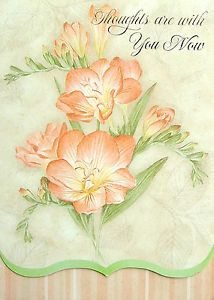 Jane Shasky Peach Flowers Inspirational Thoughts Prayers Sympathy Greeting Card