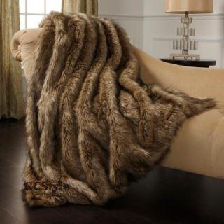 Adrienne Landau Long Hair Faux Coyote Fur Throw