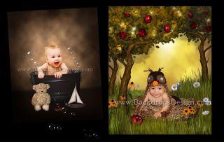Digital Backgrounds Fantasy Kids Backdrops Props Flowers Baby Green Screen