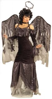 Gothic Angel Adult Womens Costume Black Dress Wings Heaven Theme Party Halloween