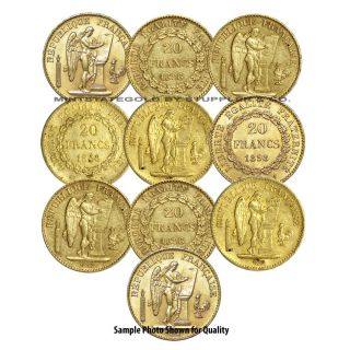 Lot of 10 French 20 Franch Angels Gold Coins Fractional World Bullion France