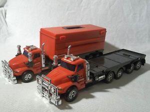 "Lot 2 Craftsman Tractor Trailer Flatbed Plastic Toy Trucks w 1 Toolbox 19""L 4""W"