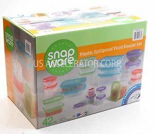 New Snapware Plastic Food Storage Containers Assorted Modular Locking Lids 42 PC
