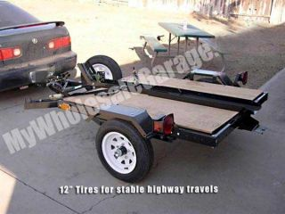 Sport Bike Single Rail Flatbed Carrier 4x5 Motorcycle Trailer Kit