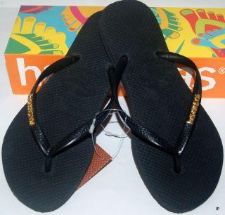 Havaianas Genuine New Ladies Slimthongs Flip Flops Black w Gold Logo Surf Skate