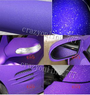 "12"" x 60"" Purple Matte Flash Sparkle Glitter Car Wrap Vinyl Film Sticker AW"