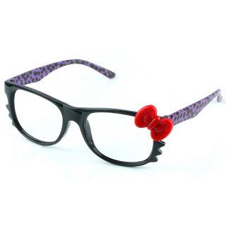Cute HelloKitty Bow Leopard Nerd Eyeglasses Glasses Frames No Lens Costume Girls