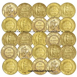 Lot of 25 French 20 Franc Angels Gold Coins Fractional World Bullion France