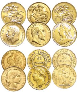 6 RARE Gold Coins 3 French Francs 3 British Sovereigns