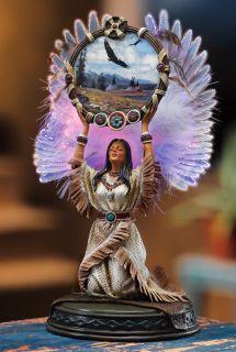 Lighted Fiber Optic Native American Indian Maiden Angel Dream Catcher Figurine