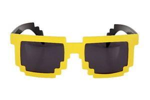 Yellow 8 Bit Pixel Costume Glasses Computer Video Game Geek Nerd Cosplay New