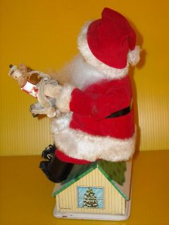 1960 Trim A Tree Noel Mechanical Tin Santa Bank Toy