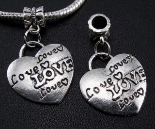 5pcs Tibetan Silver Heart Dangle Charms Beads Fit European Bracelets F99