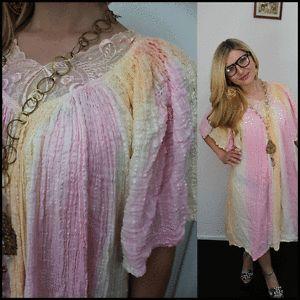 Vtg 70s Gauze Dress Boho Hippie Summer Pastels Pink Peach Lace Florals XL