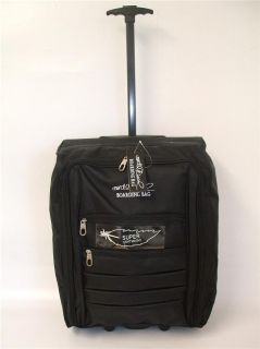 Plain Black 2 Wheeled Lightweight Hand Luggage Cabin Flight Travel Weekend Bag