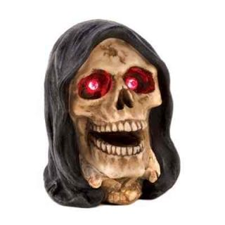 2 Light Up Evil Red Eye Scary Skull Skeleton Head Glow Figure Halloween Display