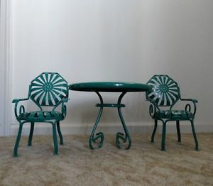 American Girl Doll Kit Table and Chairs Green Metal Patio Set Excellent