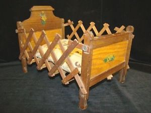 Antique C A Fenner Expandable Folding Wooden Children's Doll Bed Furniture Toy