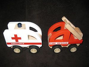 Pottery Barn Kids Wooden Ambulance Firetruck Vehicles Baby Preschool Toy Lot