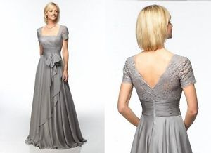 Gray Short Sleeved Chiffon Plus Size Custom Mother of The Bride Dresses MM02