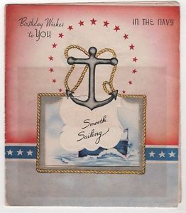 Vintage Greeting Card Birthday Wishes You Navy Sailing Anchor USS Warship Unused