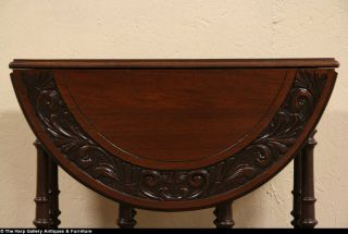 Carved Dropleaf Gateleg Antique Oval Table