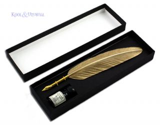 Metallic Gold Italian Feather Quill Pen with Ink Set