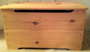 Kids Toy Box Hope Chest Unfinished Solid Wood Safety Hinged Lid U Pickup 20147