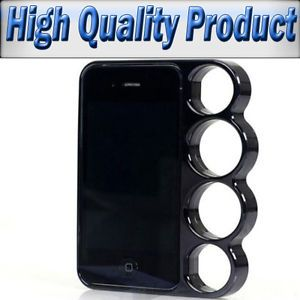 Brass Knuckle Ring Hard Case Cover Bumper Black Style for iPhone 5 5S Side Rim