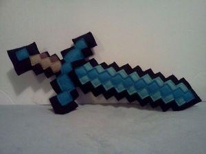 "Minecraft Terraria Inspired Large 15"" 8 Bit Diamond Sword Plush Soft Toy"