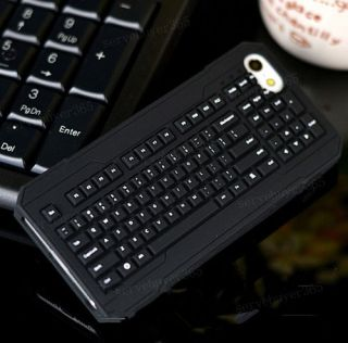 Durable Creative Silicone Soft Keyboard Design Case Cover for iPhone 5 5S Gift