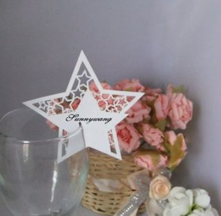 100pcs Lucky Stars Name Place Card for Wine Glass Wedding Favors Party Theme
