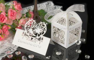 10 Laser Cutlove Birds Wedding Favor Boxes 10 Birds Table Decor Place Name Card