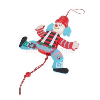 Random One Funny Wooden Clown Pull String Toy Arms Legs Go Up and Down Kids Toys
