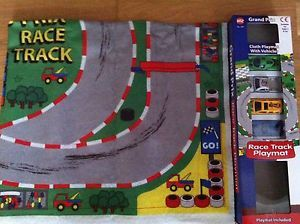 Fabric Giant Race Track Playmat Map 4 Cars 82 x 70cm Kids Toy Play Mat Rug