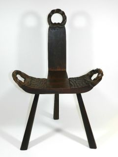 Antique Vintage Labor Birthing Chair Spinning Wheel Chair Hand Carved Chair