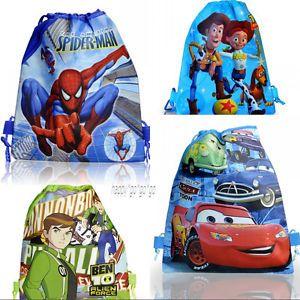 4pcs Spider Man Cars Ben 10 Toy Story Kids Drawstring Backpack School Bags