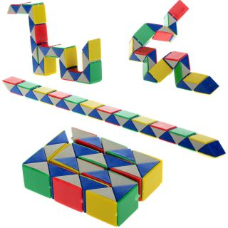 1set 24 Part Foldable Color Snake Rubik Magic Ruler Cube Jigsaw Puzzle Kid's Toy
