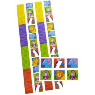 2 African Wild Animals Monkey Lion Border Happy Birthday Jungle Stickers Sheets