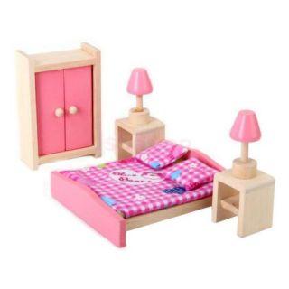 Lot 4set Bathroom Room Bedroom Kitchen Wooden Doll House Furniture Toy Miniature