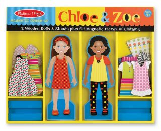 Melissa and Doug Chloe Zoe Magnetic Wooden Dress Up Dolls Set w Stands 5163 3