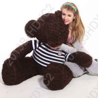 Hot Lovely Cute Giant 140cm Big Dark Brown Plush Teddy Bear Huge Soft Cotton Toy