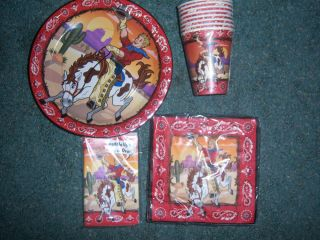 Cowboy Birthday Party Supplies Invitations Plates Napkins Cups Western Horse