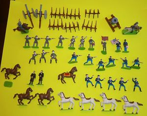 American Civil War Painted Plastictoy Soldiers Horses Playset by Awesome Kids