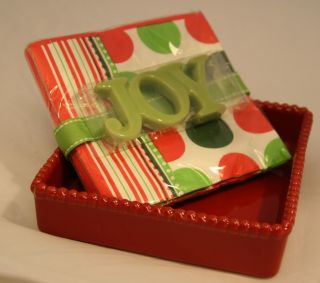 "Merry Christmas Red Ceramic Cocktail Beverage Napkin Holder Green ""Joy"" Weight"